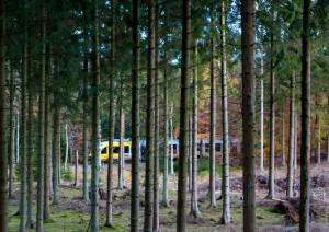 Farvepapir jernbanemotiv 01 Guld Marianne Jørgensen Toget i skoven